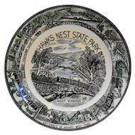 Hawks Nest State Park West Virginia Souvenir Plate Polychrome Transferware