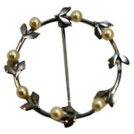 Beau Sterling Signed Circle Pin Wreath Faux Pearls 1 1/2 IN