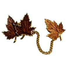 Fall Autumn Leaves Orange Sweater Guard Pin