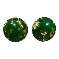 Green Lucite Gold Foil Confetti Disc Button Clip Earrings