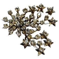 Rhinestone Comet Starburst Pin Silver Tone