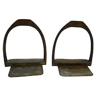 Tiffany Studios 20th Century Cast Bronze Stirrup Bookends Pair