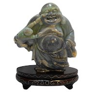 Carved Opal Figurine Mile Laughing Buddha Green Purple 985 CTS
