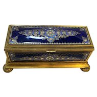French Enamel Kiln Fired Blue Casket Large 12 IN 19th Century
