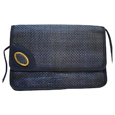 Navy Blue Straw Envelope Style Shoulder Bag Purse
