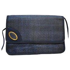 Navy Blue Straw Envelope Style Shoulder Bag Purse