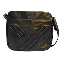Industria Argentina Cuero Vaca Black Leather Large Shoulder Bag Purse Diagonal Pleats