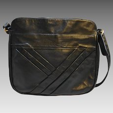 Industria Argentina Cuero Vaca Black Leather Large Shoulder Bag Purse Diagonal Pleats
