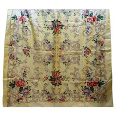 Yellow Floral Polyester Scarf Made in Japan 30 IN Square
