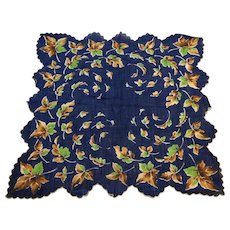 Navy Blue Fall Autumn Leaves Scalloped Ladies Handkerchief Cotton