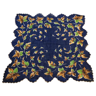 Navy Blue Fall Autumn Leaves Scalloped Ladies Handkerchief Cotton