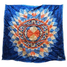Vera Blue Red Abstract Scarf Mandala Design
