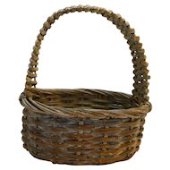 Split Wood Woven Basket Whitewashed Oval 1980s