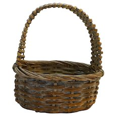 Split Wood Woven Basket Whitewashed Oval 1980s