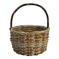 Split Wood Woven Basket Whitewashed Round 1980s