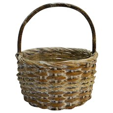 Split Wood Woven Basket Whitewashed Round 1980s