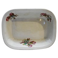 Vodrey & Brother White Ironstone Pink Roses Rectangle Serving Bowl