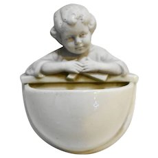 White Porcelain Holy Water Font Small Child Figural Made in Holland