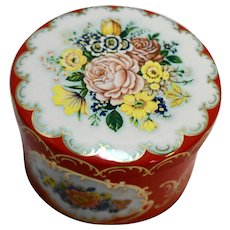 Daher Red Floral Round Tin Roses Wildflowers