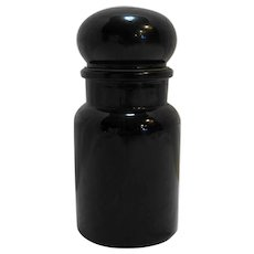 Black Amethyst Glass Bubble Lid Apothecary Jar Canister Belgium 7 IN