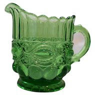 LG Wright Fenton Eyewinker Green Glass Creamer