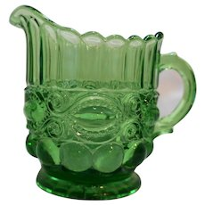 LG Wright Fenton Eyewinker Green Glass Creamer