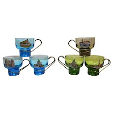 Venezia Venice Souvenir Glass Cups Metal Handles Set of 6