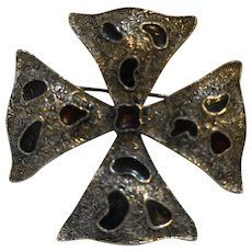 Maltese Cross Pin Silver Pewter Tone Abstract Enamel