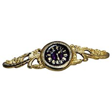 Clock Face Pin Gold Tone Enamel