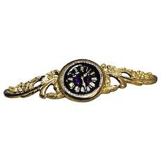 Clock Face Pin Gold Tone Enamel