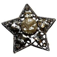 Rhinestone Faux Pearl Baroque Style Star Pin