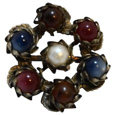Lucite Moonglow Bead Faux Pearl Wreath Pin Flower