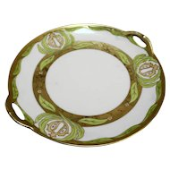 Tirschenreuth PT Bavaria Hand Painted Green Gold Small Cake Plate 9 IN