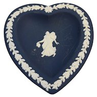 Wedgwood Jasperware Dark Blue White Greek Allegorical Heart Shaped Small Pin Dish