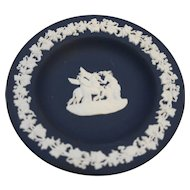 Wedgwood Jasperware Dark Blue White Greek Allegorical Small Pin Dish