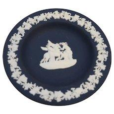 Wedgwood Jasperware Dark Blue White Greek Allegorical Small Pin Dish