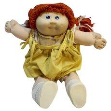 Vintage Original Cabbage Patch Kid Orange Hair Blue Eyes Yellow Dress
