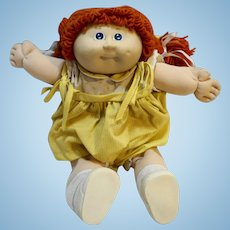 Vintage Original Cabbage Patch Kid Orange Hair Blue Eyes Yellow Dress