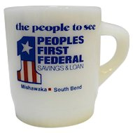 Fire-King Advertising Mug Ribbed Base People's First Federal Savings & Loan