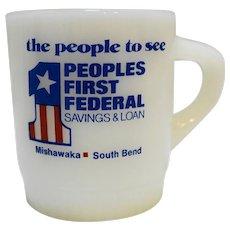 Fire-King Advertising Mug Ribbed Base People's First Federal Savings & Loan