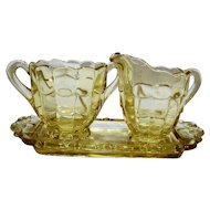 Cambridge Cascade Mandarin Gold Yellow Cream Sugar And Tray