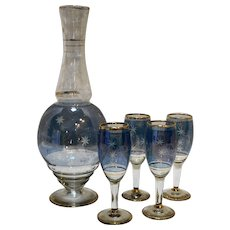 Blue Flashed Glass Cut Star Carafe Cordials Set