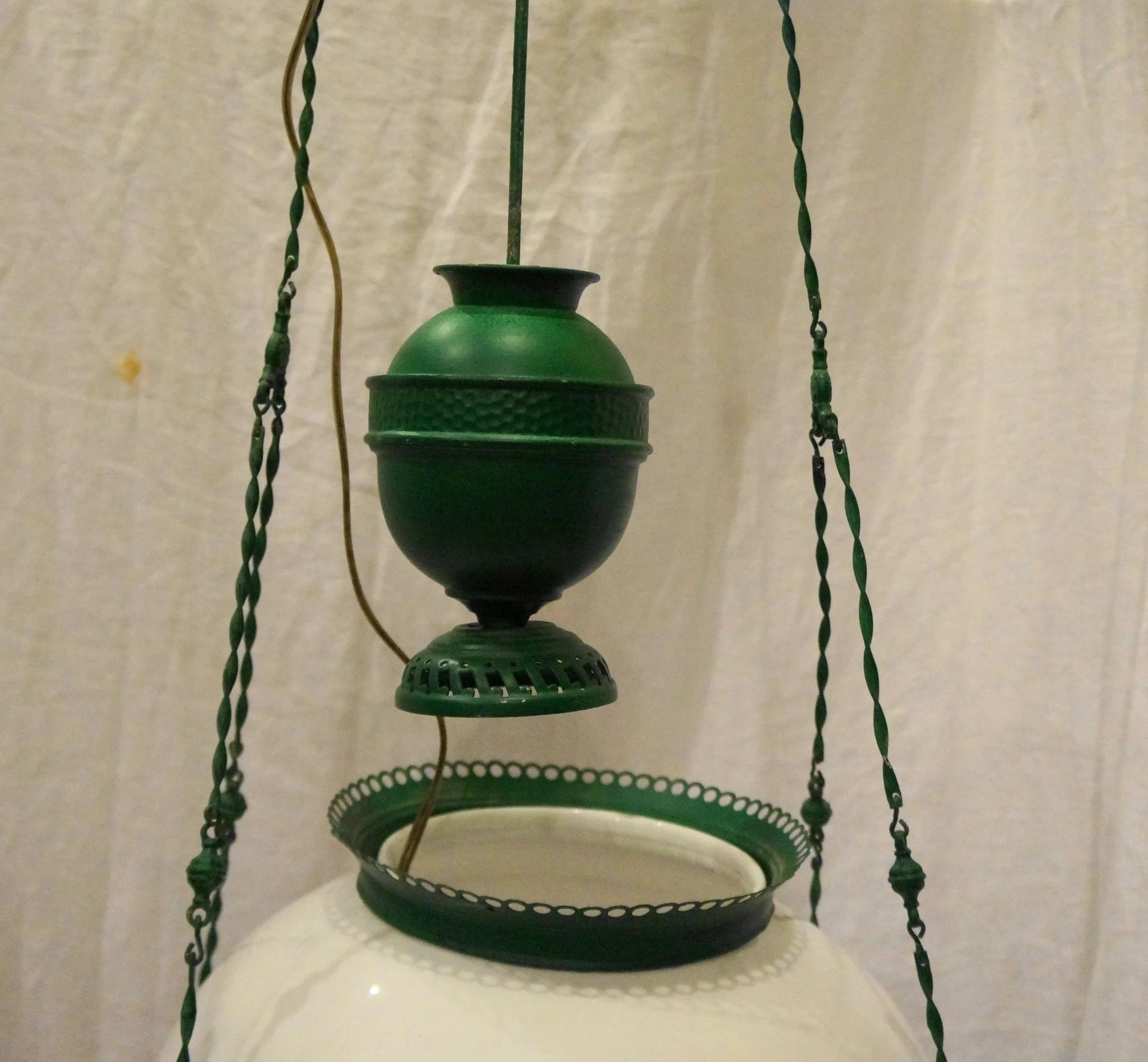 Victorian Hanging Oil Lamp Electrified Light Fixture Green