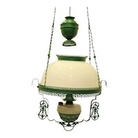 Victorian Hanging Oil Lamp Electrified Light Fixture Green Frame Milk Glass Shade