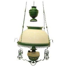Victorian Hanging Oil Lamp Electrified Light Fixture Green Frame Milk Glass Shade