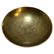 Etched Brass Bowl Pagoda Scene China 4 IN
