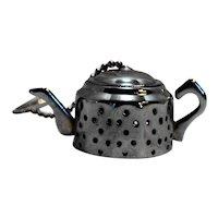 Chrome Tea Kettle Shaped Figural Tea Infuser