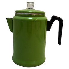 Century Aluminum Ware Green Painted Coffee Pot Percolator 9 Cup