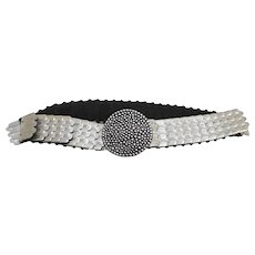 Fish Scale Silver Tone Metal Stretch Belt Ladies