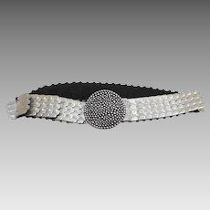 Fish Scale Silver Tone Metal Stretch Belt Ladies